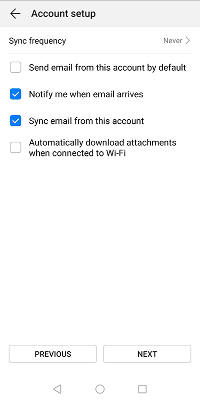 Sync frequency section of the default Android mail app
