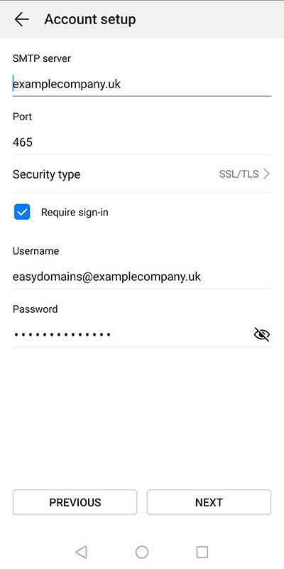 Outgoing mailserver section of the default Android mail app